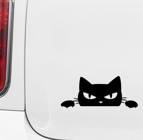"CAR -  Angry Cat Peeking Out  - Vinyl Car Decal - Copyright 2014 © YYDC (5""w x 2""h)(Color Choices)"