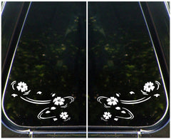 "CAR - Floating Cherry Blossoms - Sakura - Car Vinyl Decal Sticker (5.75""w x 3.75""h) © YYDC (Variations Available)"