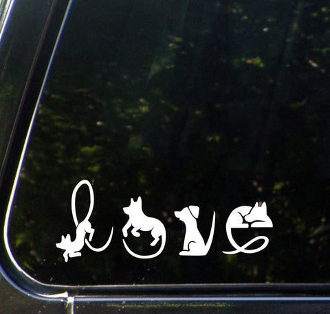 "CAR - Dogs Spell LOVE - Car Vinyl Decal Sticker - © YYDC (6.25""w x 2.5""h) (Color Choices)"