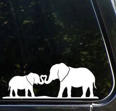 "CAR - Elephant Mom & Baby w/ Trunk Heart  - Car Vinyl Decal - © YYDC (8.5""w x 3.25""h) (Colors)"