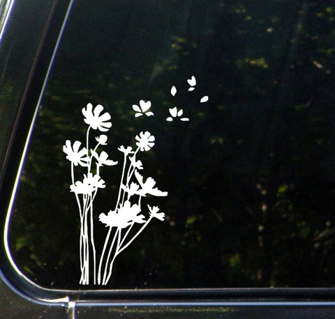 "CAR - Flowers in the WInd - Car Vinyl Decal YYDC (5.25""w x 7.5""h) (Color Variations Available)"