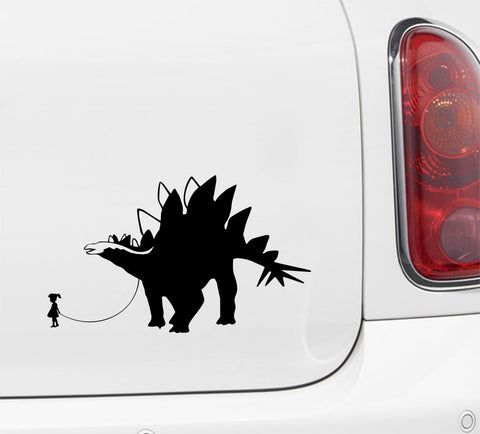 "CAR - Dinosaur Pet - Child with Stegosaurus - Car | Truck | ATV Vinyl Decal - ©YYDC (7.5""w x 4.5""h) (Variations Available)"