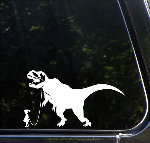 "CAR - Dinosaur Pet - Child with Tyrannosaurus Rex  - Car | Truck | ATV Vinyl Decal - ©YYDC (8""w x 4.25""h) (Variations Available)"