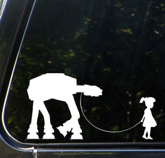 "CAR - Girl Walking AT-AT Robot - Car Vinyl Decal Sticker - (8.75""w x 4.5""h) (Color Variations Available)"