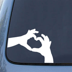 "CAR - Heart Hands - Car Vinyl Decal Sticker (12.75""w x 7.5""h) (Color Choices)"