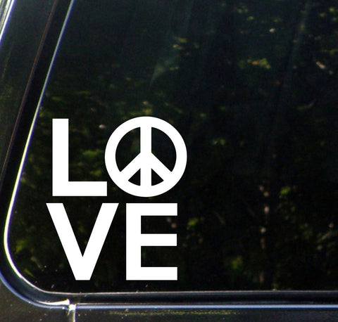"CAR - LOVE Sculpture with Peace Sign - Car Vinyl Decal Sticker - (4""w x 4.5""h) (Color Choices)"