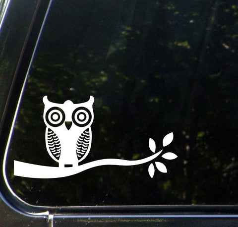 "CAR - Owl on Tree Branch - D1 - Car Vinyl Decal Sticker - (8.75""w x 4.5""h) (Color Choices)"