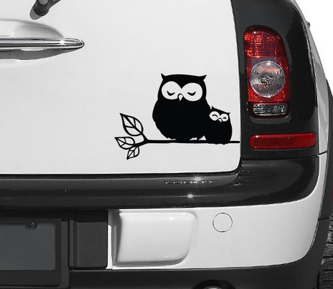 "CAR - Owl Parent & Baby on Branch - D1 - Car Vinyl Decal - (5.75""w x 4""h) (Color Choices)"