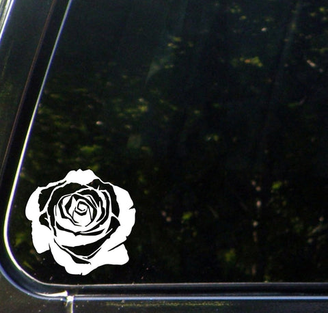 CAR - Rose Blossom - Vinyl Decal Sticker for Cars | Trucks | Outdoor Use - ©YYDC (Size and Color Choices)