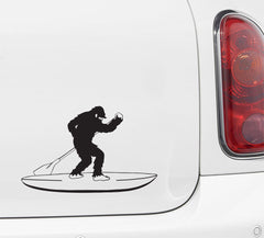 "CAR- Surfin' Sasquatch Stand Up Paddleboard SUP - Bigfoot Yeti - D1 - Car Vinyl Decal - © YYDC (5""w X 8""h) (BLACK)"