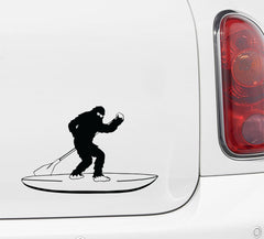"CAR- Surfin' Sasquatch Stand Up Paddleboard Sunglasses SUP - Bigfoot Yeti - D2 - Car Vinyl Decal Copyright © YYDC (5""w X 8""h)"