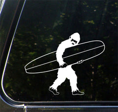 "CAR - Surfing Sasquatch - Longboard Bigfoot - Yeti - D1 - ©YYDC Car Vinyl Decal (7""w x 5.5""h)"