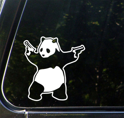 "CAR - Shooting Panda - Car Vinyl Decal (5.75""w x 6""h) (Color Choices)"