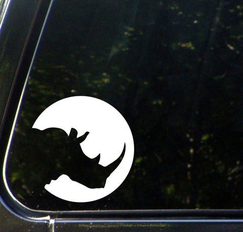 "CAR - Silhouette Rhino - Car Vinyl Decal Sticker - ©YYDC (5""w x 5""h) (Color Choices)"