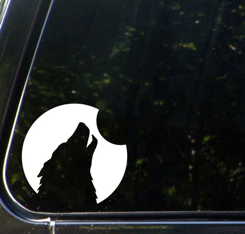 "CAR - Silhouette Wolf - Car Vinyl Decal Sticker - ©YYDC (5""w x 5""h) (WHITE)"