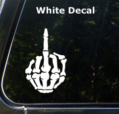 CAR - Skeleton Hand Middle Finger - Vinyl Car Decal Sticker (MD 3.75 w x 6 h) © YYDC (Color Choices)