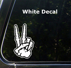 "CAR - Skeleton Hand Peace Sign - Car Vinyl Decal Sticker - (MD 3.5""w x 6""h) © YYDC (Color Choices)"