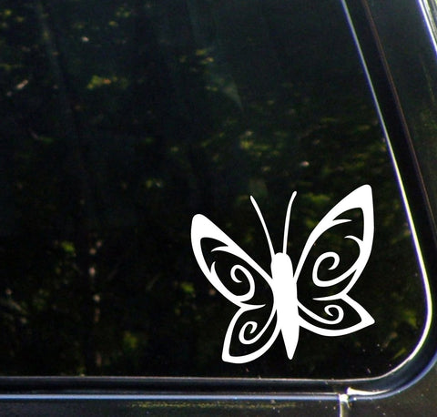 "CAR - Spiral Butterfly D1 - Car Vinyl Decal Sticker - ©YYDC (4""w x 4""h) (Color Choices)"