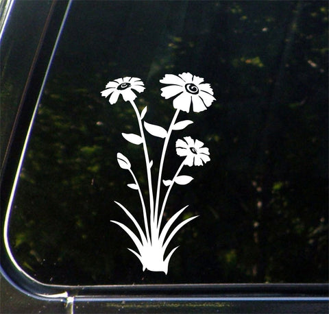 "CAR - Spring Flowers - Car Vinyl Decal Sticker - ©YYDC (4""w x 7""h) (Color Choices)"