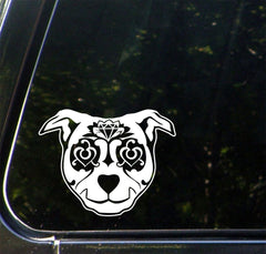 CAR - Sugar Skull Dog - Day of the Dead - Día de los Muertos - Car | Truck |Outdoor Use Vinyl Decal - © 2016 YYDC (Size and Color Choices)