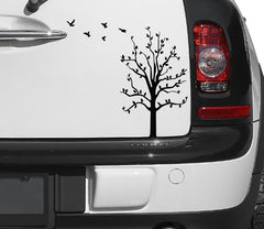 "CAR - Tree Birds - D1 - Car Vinyl Decal Sticker ©YYDC (10.5""w x 8.5""h) (Color Choices)"