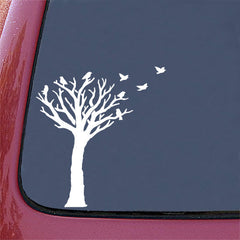 "CAR - Bare Tree with Flying Birds - D2 - Car Vinyl Decal Sticker ©YYDC (7""w x 7.5""h) (Color Choice)"