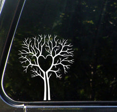 "CAR - Tree Heart - Car Vinyl Decal Sticker - © YYDC (5.5""w x 6.5""h) (Color Choices)"