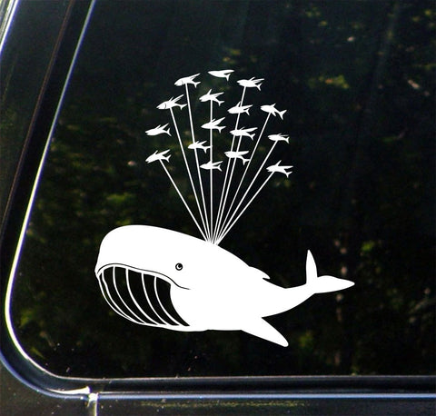 "CAR - Whale Airlift with Flying Fish - Design 1 - Whale Car Decal Vinyl Sticker ©YYDCo. (5""w x 5.5""h)(Color Choices)"