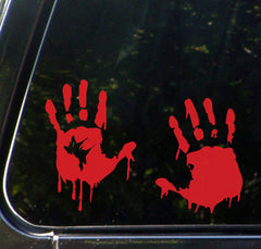 "CAR - Bloody Zombie Handprint - Car Vinyl Decal (5.5""w x 7.5""h) (R, L, or Pair)"