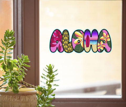 "CLR:WND - ALOHA Illustrated Text - D1-  See-Through Vinyl Window Decal - © YYDC (8""w x 2.5""h)"