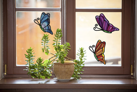 "CLR:WND - Stained Glass Butterfly D1 - See-Through Vinyl Window Decal © YYDC  (4.75""w x 6""h) (Color Choices Available)"