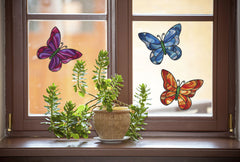 "CLR:WND - Stained Glass Butterfly D2 - 3-PACK - See-Through Vinyl Window Decal © YYDC (3) (6.5""w x 5.5""h)"