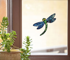 "WND-106 - Stained Glass Dragonfly D3 - BLUE - Color Printed Vinyl Decal © YYDC  (5.75""w x 5.25""h) (BLUE WINGS) CLR:WND"