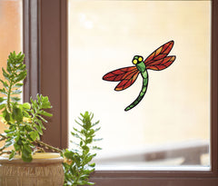 "WND-107 - Stained Glass Dragonfly D3 - ORANGE - Color Printed Vinyl Decal © YYDC  (5.75""w x 5.25""h) (Color Choices Available) CLR:WND"
