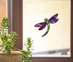 "WND-108 - Stained Glass Dragonfly D3 - PURPLE - Color Printed Vinyl Decal © YYDC  (5.75""w x 5.25""h) (Color Choices Available) CLR:WND"