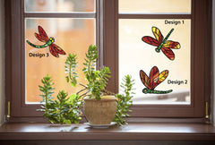 CLR:WND - Stained Glass Dragonfly 3-PACK - Color Printed Vinyl Decal © YYDC (3) (Color Choices Available)
