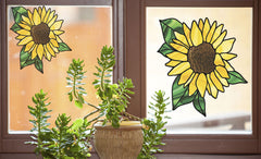 CLR:WND - Sunflower - D2 - Stained Glass Style Vinyl Decal for Windows | Home Decor  ©YYDC (Size Variations Available)