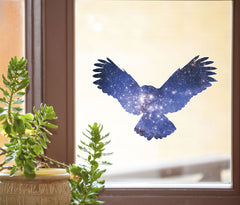 "CLR:WND - Cosmic Owl - Galaxy Spirit Animal - Contour Cut and Printed Window Vinyl Decal ©YYDC (8""w x 5.5""h)"