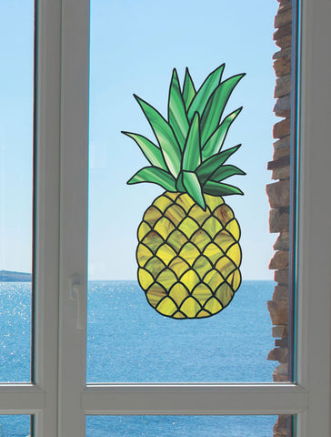 CLR:WND - Pineapple Stained Glass - See-Through Vinyl Window Decal - © 2015 YYDC (Size Choices Available)