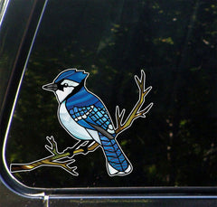 "CLR:CAR - Blue Jay Bird Perched on Branch - Stained Glass Style Opaque Vinyl Car Decal  ©YYDC (6""w x 4.5""h)"