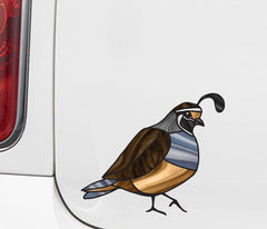 "CLR:CAR - Bird - Quail - Stained Glass Style - Opaque - Vinyl Car Decal ©YYDC (MD 5""w x 4.25""h)"