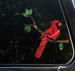 "CLR:CAR - Cardinal Bird Perched on Branch - Stained Glass Style- Opaque Vinyl Car Decal ©YYDC (5.75""w x 6""h)"