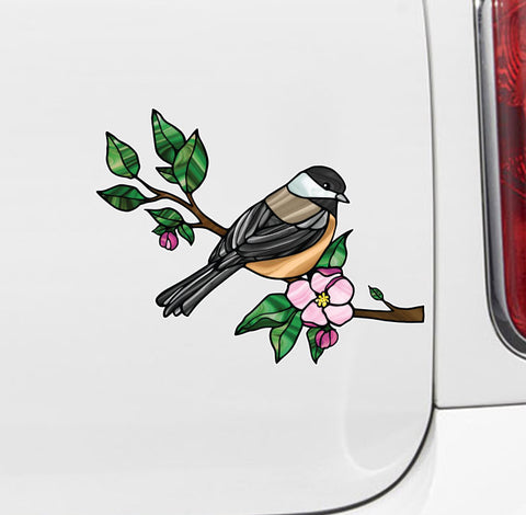 "CLR:CAR - Bird - Chickadee w Apple Blossoms - Stained Glass Style Vinyl Car Decal©YYDC (MD 6""w x 4.75""h)"