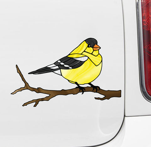 "CLR:CAR - Bird - Goldfinch Perched - Stained Glass Style - Opaque - Vinyl Car  Decal ©YYDC (MD 7""w x 4.5""h)"