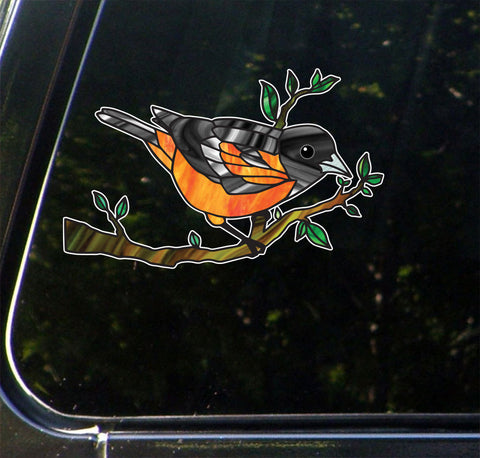 "CLR:CAR - Oriole Bird Perched on Branch - Stained Glass Style Opaque Vinyl Car Decal ©YYDC (MED 5.25""w x 3.25""h)"