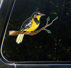"CLR:CAR - Western Meadowlark Bird on Branch - Stained Glass Style - Opaque Vinyl Car Decal ©YYDC (6.25""w x 4""h)"