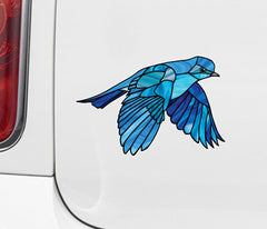 CLR:CAR - Bluebird in Flight - Stained Glass Style - Opaque - Vinyl Car  Decal ©YYDC (Size Choices)