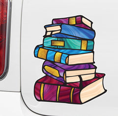 "CLR:CAR - Books - Stack of Books - Stained Glass Style - Opaque - Vinyl Car Decal ©YYDC (MD 5""w x 6""h)"