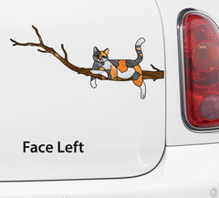 "CLR:CAR - CALICO Charming Cat on Branch - Stained Glass Style Vinyl Decal for Car | Truck | Outdoor © YYDC (8.5""w x 4""h)"
