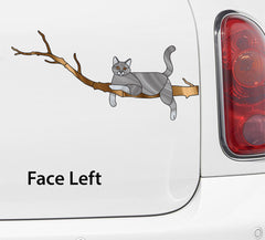 "CLR:CAR - GREY Charming Cat on Branch - Stained Glass Style Vinyl Car Decal Sticker © YYDC (8.5""w x 4""h)"